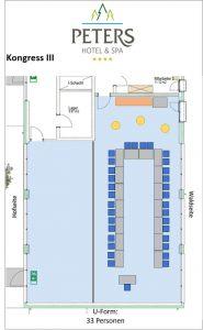 Raumplan - Kongress III - U-Form - Peters Wellness & Spa Homburg Jägersburg Saarland