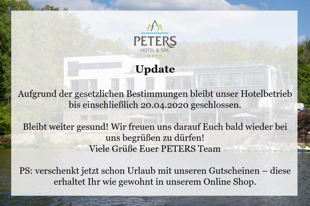 Corona PETERS bis 20.04.20 geschlossen